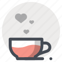 a gift of fate, coffee, cup, hearts, love, passion, valentine icon