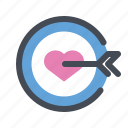 dart board, find, love, romantic, target, valentine, valentine's day icon