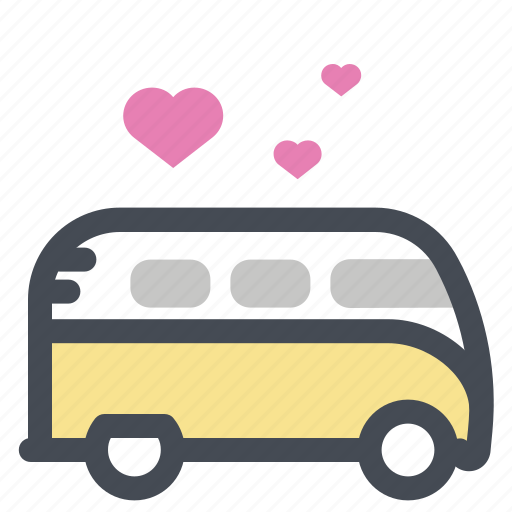 bus, dancing car, love, lovers, meeting, romance, travel icon