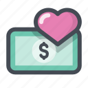 cash, heart, love, lovers, money, passion, valentine's day icon