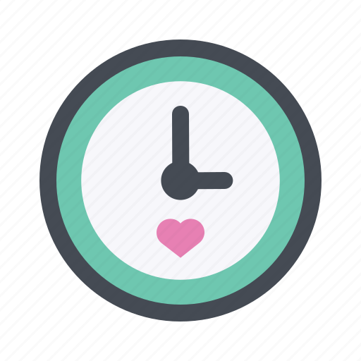 clock, date, lovers, passion, time, valentine, valentine's day icon