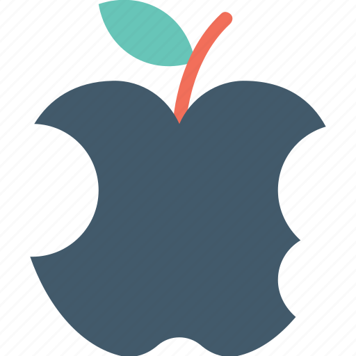 apple bite, bitten apple, eaten apple, fruit, half eaten apple icon