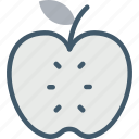 apple, apple slice, fruit, half apple, healthy diet icon