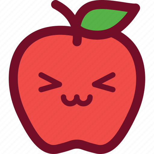 apple, cute, emoticon, funny, smile icon
