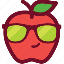 apple, cool, cute, emoticon, funny, glasses icon