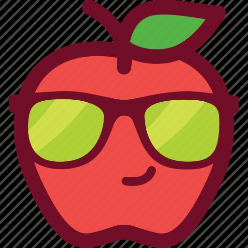 apple, cool, cute, emoticon, funny, glasses icon