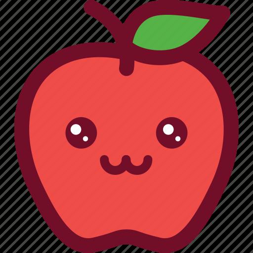 apple, cute, emoticon, funny, happy, smile icon