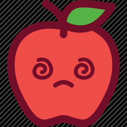 apple, confused, cute, emoticon, headache icon