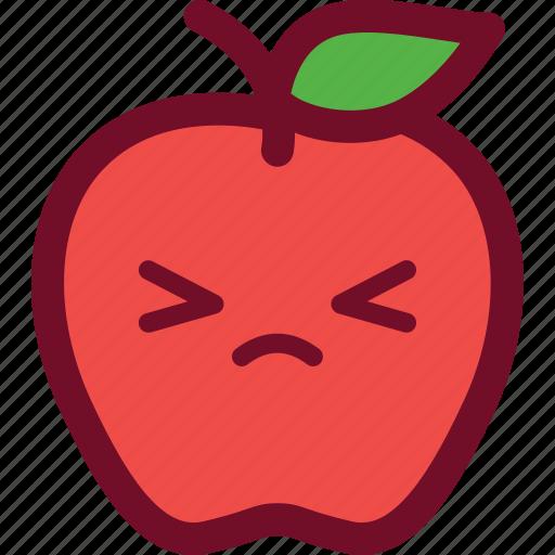 apple, cute, emoticon, funny icon