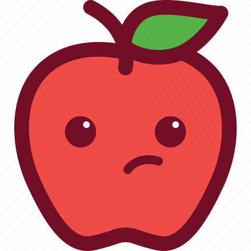 apple, cute, emoticon, funny, suspicious, thinking icon