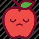 apple, emoticon, sad, sleepy icon