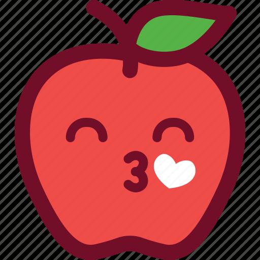 apple, emoticon, heart, love icon