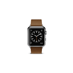 apple, brown, buckle, modern, product, watch icon