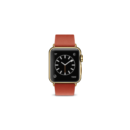 apple, bright, buckle, edition, gold, modern, product, red, watch icon