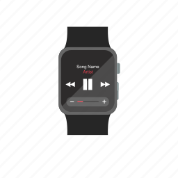 apple watch, iwatch, music, plause, play, player, screen icon