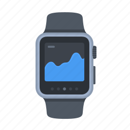 apple watch, device, diagram, smartwatch, statistics, technology, timepiece icon
