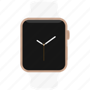 apple, gold, pink, watch, white icon
