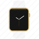 apple, gold, watch, white, yellow icon