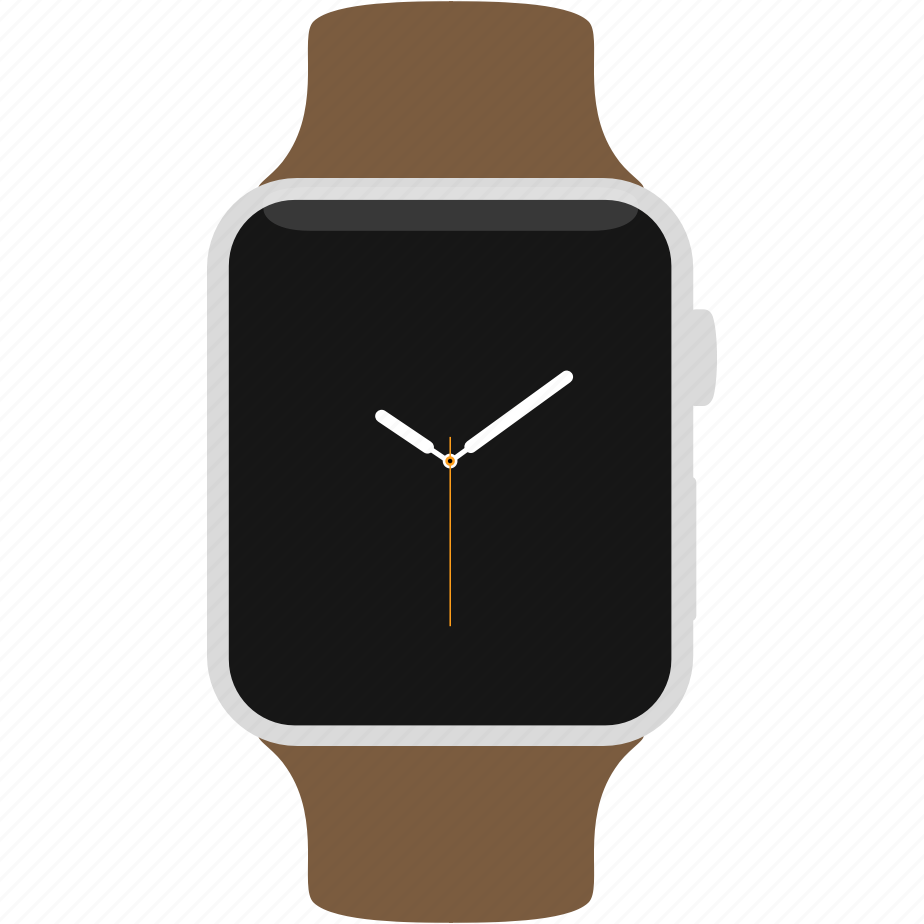 apple, brown, leather, silver, watch icon