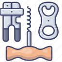 bottle, opener, corkscrew, can icon