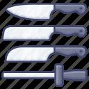 set, kitchen, knife, chef icon