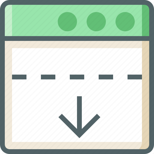 application, arrow, dashed, down, line icon