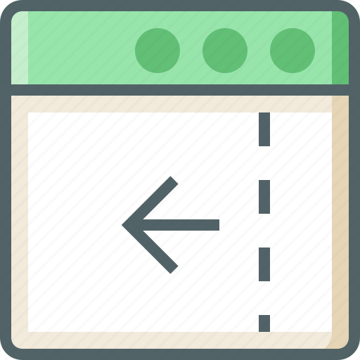application, arrow, dashed, left, line icon