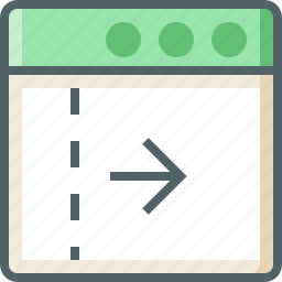 application, arrow, dashed, line, right icon