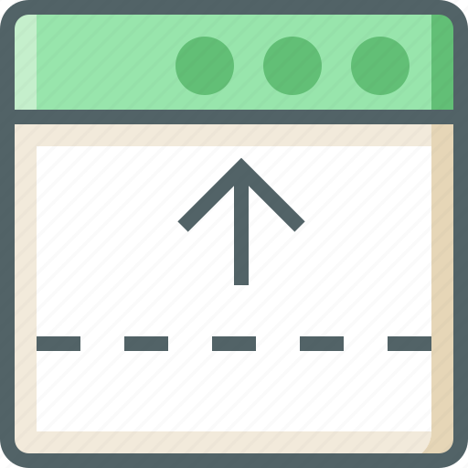 application, arrow, dashed, line, up icon