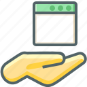 application, hand icon