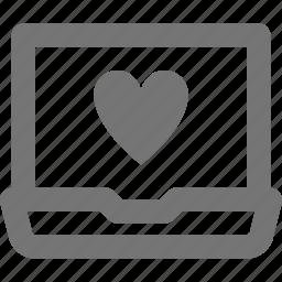 favorite, heart, laptop, like icon