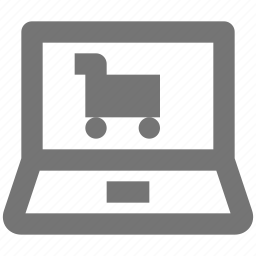 cart, laptop, shopping icon
