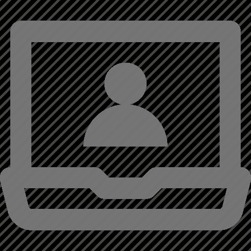 laptop, profile, user icon