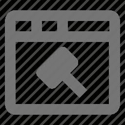 auction, hammer, window icon