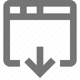 arrow, down, download, window icon