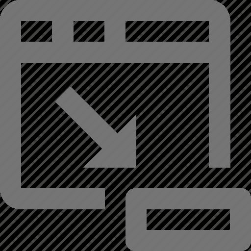 arrow, minimize, minus, page, shrink, tab, web, window icon