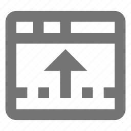arrow, browser, page, reduce, tab, upload, web, window icon