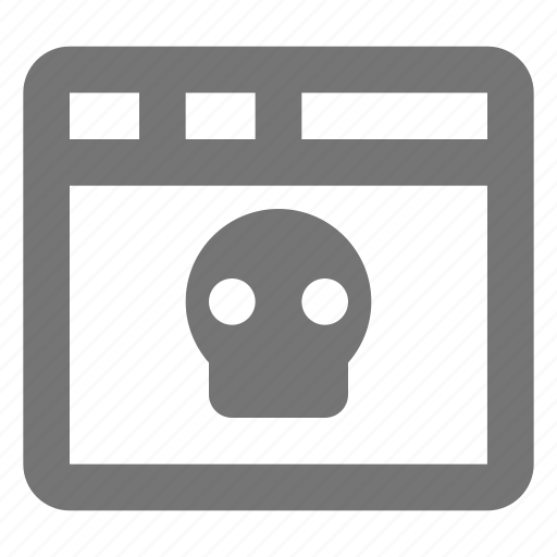 browser, death, interface, page, skull, tab, web, window icon