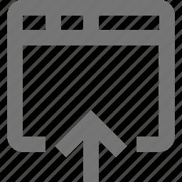 arrow, up, upload, window icon