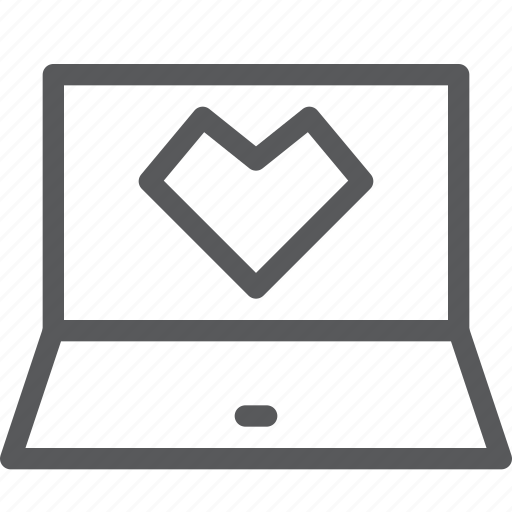 bookmark, communication, favorite, heart, laptop, notebook, technology icon