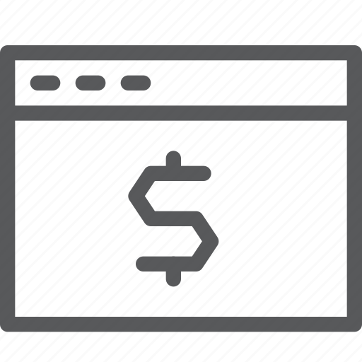 browser, cash, currency, dollar, money, terminal, window icon