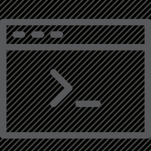 application, browser, code, tab, terminal, web, window icon