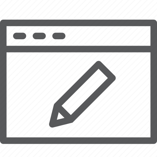 application, browser, edit, pen, pencil, tab, terminal, window icon