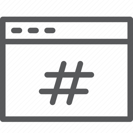 application, browser, hashtag, popular, tab, terminal, trending, window icon