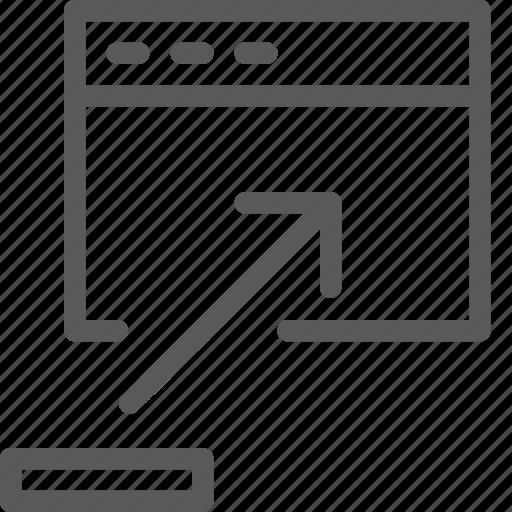 arrow, browser, maximize, stretch, terminal, up, window icon