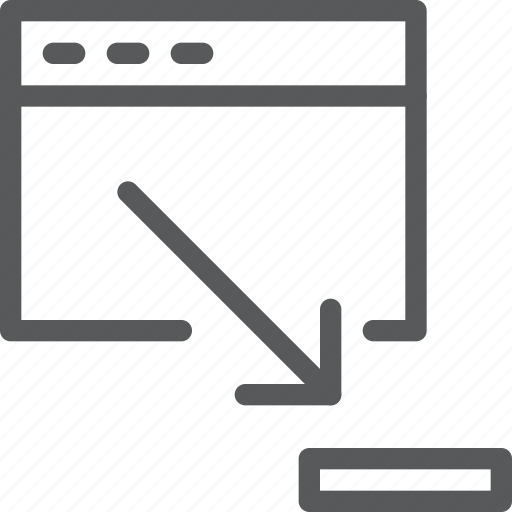 application, arrow, browser, down, minimize, terminal, window icon