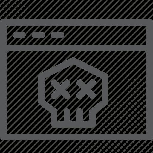 application, browser, death, skull, terminal, virus, window icon