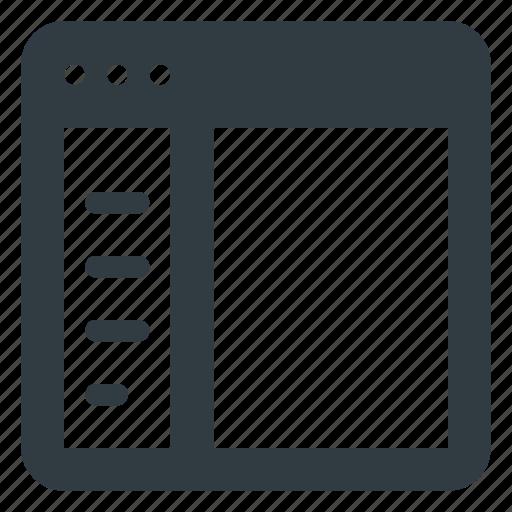 application, browser, left, panel, sidebar icon
