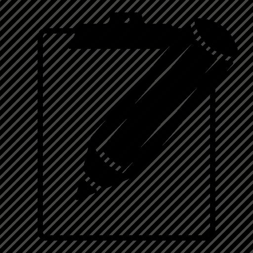 clipboard, edit, note, pencil, write icon