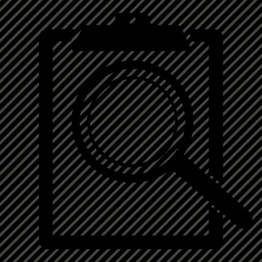 clipboard, explore, find, investigate, search, seo, view icon